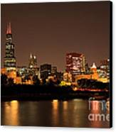 Chicago Skyline Downtown City Buildings At Night Canvas Print by Paul Velgos