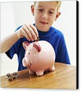 Child With A Piggy Bank Canvas Print by Ian Boddy