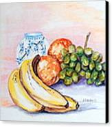 China Vase With Fruit Canvas Print by Janna Columbus