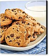 Chocolate Chip Cookies And Milk Canvas Print by Elena Elisseeva