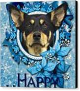 Christmas - Blue Snowflakes Australian Kelpie Canvas Print by Renae Laughner