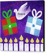 Christmas And Hanukkah Peace Canvas Print