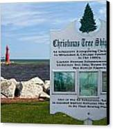 Christmas Tree Ship Point At Algoma Harbor Canvas Print by Mark J Seefeldt