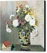 Chrysanthemums In A Chinese Vase Canvas Print