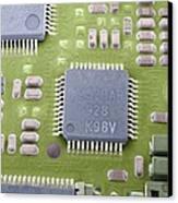 Circuit Board Microchip, Sem Canvas Print by Steve Gschmeissner