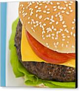 Classic Hamburger With Cheese Tomato And Salad Canvas Print by Ulrich Schade
