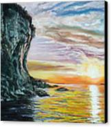 Cliff Sunset Canvas Print by Peter Jackson