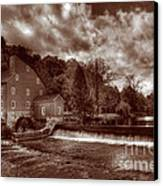 Clinton Red Mill House Sepia Canvas Print