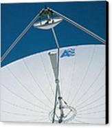 Close Up Of A Satellite Receiver Dish Canvas Print by David Parker