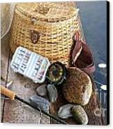 Close-up Of Fishing Equipment And Hat  Canvas Print