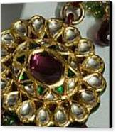 Close Up Of The Gold And Diamond Setting Of A Large Necklace Canvas Print by Ashish Agarwal