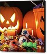 Closeup Of Candies With Pumpkins  Canvas Print