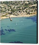 Coastal Community And Sailboats Canvas Print by Eddy Joaquim