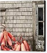 Coastal Shanty And Buoys. Canvas Print