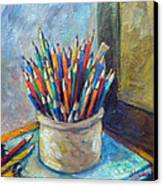 Colored Pencils In Butter Crock Canvas Print by Jean Groberg
