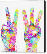 Colorful Painting Of Hands Number 0-5 Canvas Print by Setsiri Silapasuwanchai