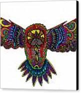 Coloured Owl Canvas Print by Karen Elzinga
