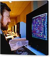Computer-aided Design Of A Silicon Chip Canvas Print by David Parkerseagate Microelectronics Ltd