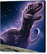 Conceptual Art Of A Ghostly Dinosaur Over The Moon Canvas Print by Joe Tucciarone