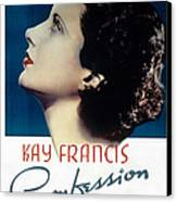 Confession, Kay Francis, 1937 Canvas Print