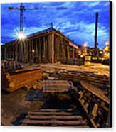 Constraction Site At Night Canvas Print