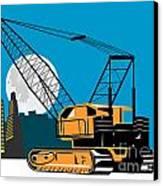 Construction Crane Hoist Retro Canvas Print