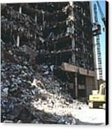 Construction Workers Erect An External Canvas Print by Everett