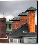 Copper-lined Chimneys On A Grey Sky Canvas Print by Matthew Green