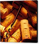 Corkscrew And Wine Corks Canvas Print