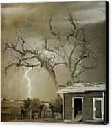 Country Horses Lightning Storm Ne Boulder Co 66v Bw Art Canvas Print