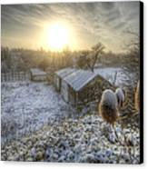Country Snow And Sunrise Canvas Print by Yhun Suarez