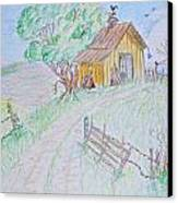 Country Woodshed Canvas Print by Debbie Portwood