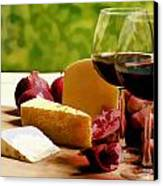 Countryside Wine  Cheese And Fruit Canvas Print