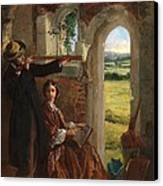 Couple Observing A Landscape Canvas Print by English School