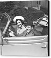 Couple Riding In Old Fashion Convertible Car, (b&w),, Portrait Canvas Print