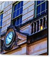 Courthouse Clock Canvas Print by Beverly Hammond