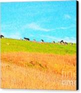Cows On A Hill . 40d3430 . Painterly Canvas Print