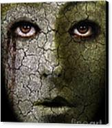 Creepy Cracked Face With Tears Canvas Print