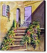 Crooked Steps And Purple Doors Canvas Print