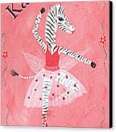 Custom Name Child's Zebra Ballerina Canvas Print by Kristi L Randall