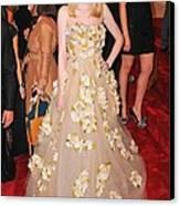 Dakota Fanning Wearing A Dress Canvas Print by Everett