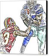 Dallas Cowboys Dez Bryant Washington Redskins Deangelo Hall Canvas Print by Jack K