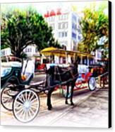 Decatur Street At Jackson Square Canvas Print by Bill Cannon