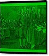 Declaration Of Independence In Green Canvas Print by Rob Hans