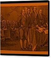 Declaration Of Independence In Orange Canvas Print