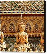 Demon Guardian Statues At Wat Phra Kaew Canvas Print by Panyanon Hankhampa