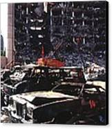 Destroyed Automobiles Near The Bombed Canvas Print by Everett