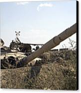 Destroyed Iraqi Tanks Near Camp Slayer Canvas Print by Terry Moore