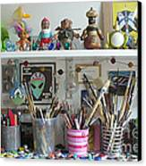 Detail Of My Shelves Brooklyn Alien Art Canvas Print by Kristi L Randall