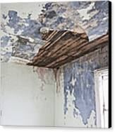 Deteriorating Ceiling In An Abandoned House Canvas Print